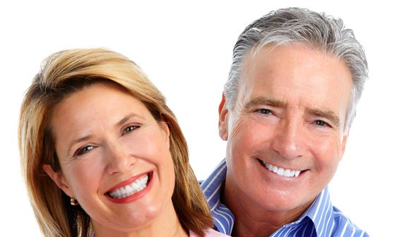 older couple after implant treatment